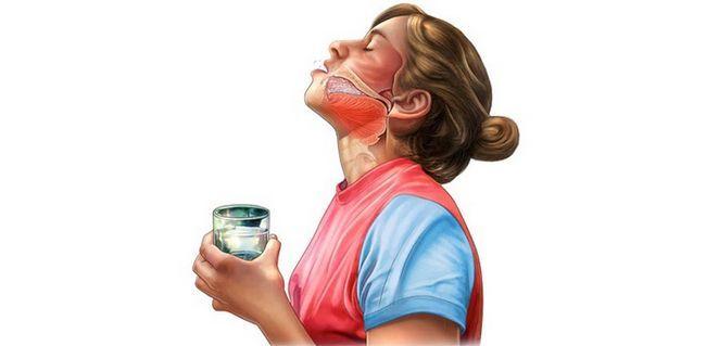Процес полоскання горла