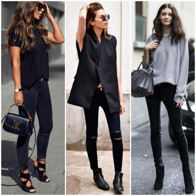 з чим носити чорні джинси