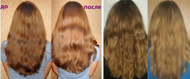 Фото результатів освітлення волосся корицею