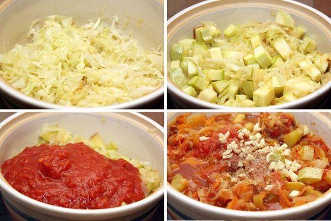 Покрокова приготування капустяно-овочевий суміші