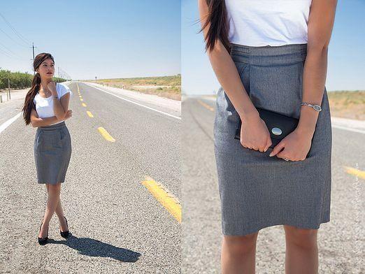 С чем носить серую юбку?