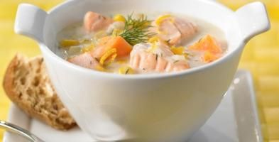суп з сьомги з рисом